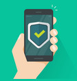 security protection shield on mobile phone guard vector image