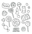 set hand drawn candies donut lollipop candy vector image vector image