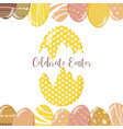 set of cute easter bunny easter eggs and flowers vector image vector image