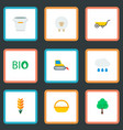 set of harvest icons flat style symbols with bio vector image vector image