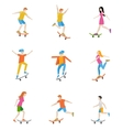 Skateboard characters set vector image