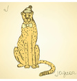 Sketch fancy jaguar in vintage style vector image vector image