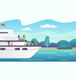 smiling people friends making fancy party on yacht vector image vector image