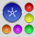 snow icon sign Round symbol on bright colourful vector image vector image