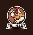 strong rooster mascot logo design with modern vector image