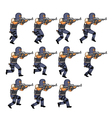 SWAT Officer Running Sequence vector image vector image