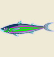 thin monster fish blue with green stripes vector image