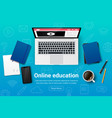 top view education workplace icons vector image vector image