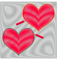 two hatched hearts on a shaded background vector image