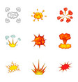 variously shaped firework explosion icons set vector image vector image