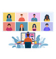 virtual meeting collective home video conference vector image