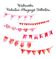 watercolor valentine hanging collection vector image vector image