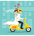 young happy newlyweds bride and groom riding on vector image vector image