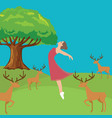 woman girl fresh jumping freedom in forest fresh vector image