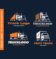 set of four logo with truck and trailer vector image
