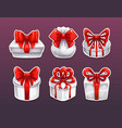gift boxes with red bows vector image