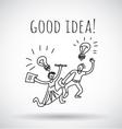 Good idea happy creative couple team black and vector image