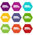 ambulance emergency van icon set color hexahedron vector image vector image