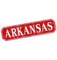 Arkansas red square grunge retro style sign vector image vector image