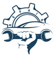 auto repair wrench in hand symbol vector image vector image