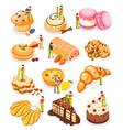 bakery people isometric icon set vector image