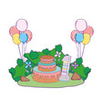beautiful landscape with party cake and balloons vector image