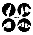 beer icons set black and white