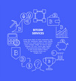 bitcoin services round poster with place for text vector image vector image