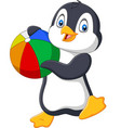 cartoon penguin holding beach ball vector image vector image