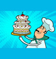 chef cook character with cherry cake vector image