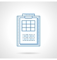 Clipboard with checklist blue line icon vector image
