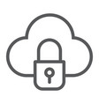 cloud and lock line icon data and protect cloud vector image vector image