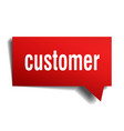 customer red 3d speech bubble vector image vector image