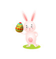 cute happy easter rabbit on green grass take vector image vector image