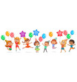 cute kids joy balloons birthday vector image vector image