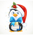 cute penguin in santa hat hold a gift box vector image vector image