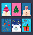 cute retro hand drawn cards with funny bear vector image vector image