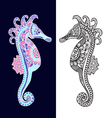 Decorative sea horse in Zentangle style vector image vector image