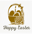 easter banner design basket with easter eggs vector image vector image