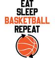 eat sleep basketball repeat on white vector image