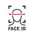 face id icon - recognition identification scan vector image vector image