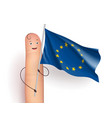 finger holding eu waving flag vector image