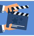 Flat movie clapperboard vector image