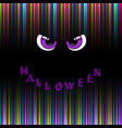 halloween card violet predatory monster eyes and vector image