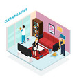 home staff isometric design concept vector image