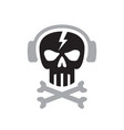 human skull with headphones sign - logo vector image