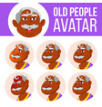 indian old man avatar set face emotions vector image