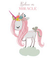 little cartoon fairytale unicorn vector image