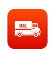 mail truck icon digital red vector image vector image