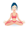 meditating yoga girl sitting in lotus pose vector image vector image